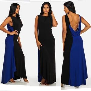 Royal Blue & Black Gold Chain Open Back Maxi Dress